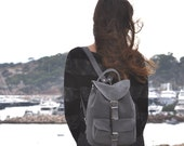Medium size suede leather backpack /Women/Men gray suede backpack