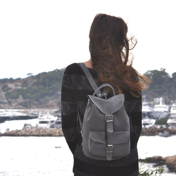 Medium size suede leather backpack /Women/Men gray suede