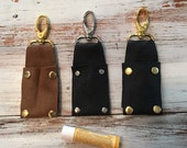 Leather Chapstick Holder Keychain - Bag Charm