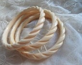 Lucite Bangle Set Cream Bone Colored Bracelets Trio Larger Wrist NEVER WORN Boho Vintage Costume Jewelry tribal
