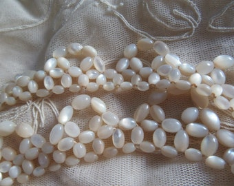 Mother Of Pearl Necklace For Parts Or Restring Destash Loose Shell Beads For Earrings Upcycle  1930's Costume Jewelry MoonlightMartini