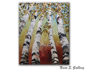 Original Birch Trees Painting Landscape Contemporary Painting.Impasto,Palette Knife.Looking Up Birch Forest Painting  - by Nata S.