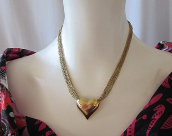 Vintage Heart on multiple chains sweetheart gift Valentine High Fashion retro