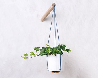 Wall planter with dark blue thread, plant hanger, indoor hanging planter