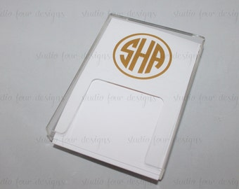 Personalized/Monogrammed Acrylic Paper Holder - Desk Accessory / Monogram Office Supplies / Monogram Desk Accessories