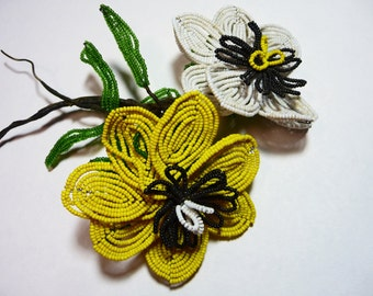 Vintage Pair of Large French Beaded Flowers on Etsy by FUNNYFARMS
