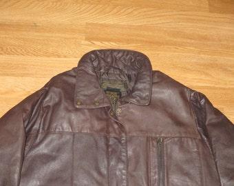 Vintage 1990s Eddie Bauer Quilted Goose Down Leather Bomber Flight Jacket