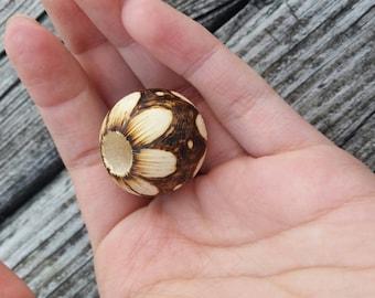 Flower wood-burned bead