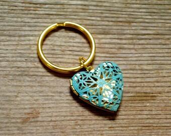 Heart Locket Keychain, Aqua Brass Heart Locket, Turquoise Patina Locket Keyring, Gold Plated Key Ring