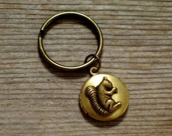 Brass Squirrel Locket Keychain, Squirrel Keychain, Brass Locket Keyring, Woodland Keychain, Nature Keychain