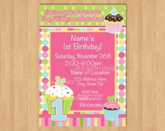Cupcake birthday party invitation girl 1st birthday invitation Cupcake party Cupcake invite Cupcake invitation sweet treats birthday party
