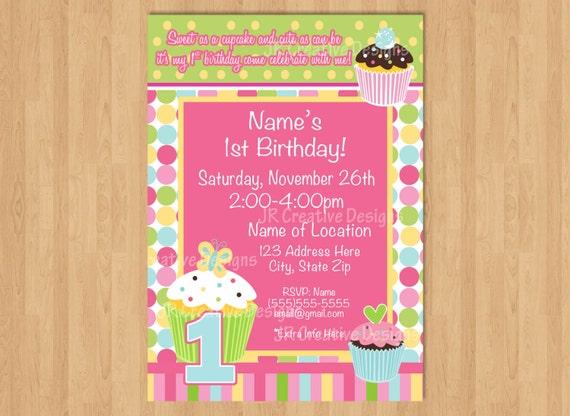 Cupcake birthday party invitation girl 1st birthday invitation