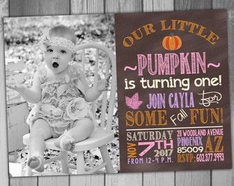 Fall Birthday Invitations Fall Birthday Party Invitations Fall Birthday Invite Little Pumpkin Girl Birthday Pumpkin Birthday Invitation