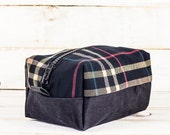Dopp Kit | Plaid + Waxed Denim