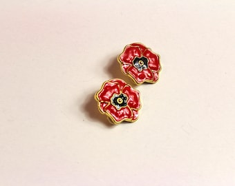 Vintage ESCADA  Red flower  earrings  # 506