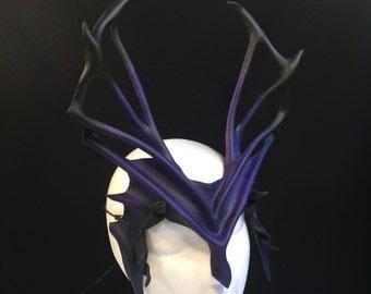 INDIGO TRITON Leather Headpiece Antlers Witch Mask Dark Purple Halloween Burning Man Festival Sorceress Costume Demon LARP Carnival Cosplay