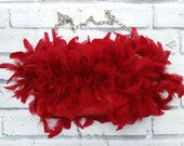 Red Satin & Feather Clutch Bag with Chain Strap Goth Rockabilly Alternative Punk