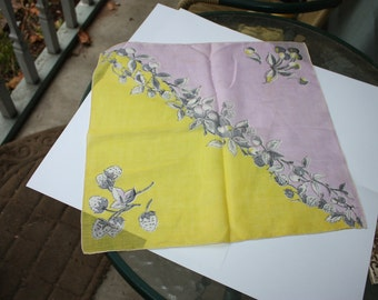 Vintage Handkerchief, Yellow, Pink, Strawberries, Cherries, Leaves, Very Good Vintage Condition Floral, Hanky