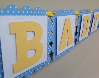 Baby Block Collection Baby Shower Banner Name Banner Onesie Banner Light Blue and Yellow