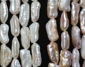 Large Hole Freshwater Pearls Biwa pearls Necklace Natural White, purple Loose beads 8.5-9.5mm 22pcs Full Strand Item No : PL4265