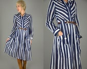 50s Striped Bucket Pocket Cotton Button Up Long Sleeve Deco Swing Dress