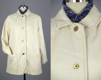 60s Modern Car Coat Sharpee Ivory Cotton with Brass Turn Lock Closures Cashin Style Mod Jacket