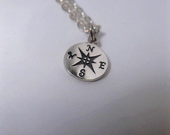 Compass Necklace - Sterling Silver Charm Necklace - Graduation - Long Distance - Good Luck - Birthday