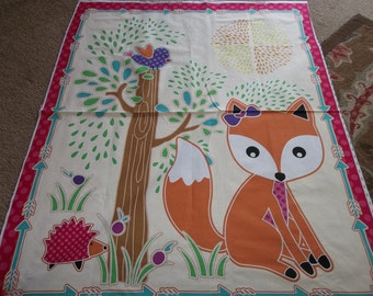 Liscened  Quilt Top FOXY PANEL Woodland ..ready to Quilt...Free Shipping...