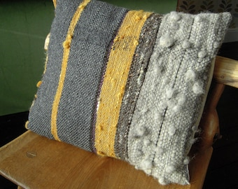 "Hand Woven Cushion  -  Natural Grey & Orange Wool Pillow Cover - 16"" x 19"" all handspun"