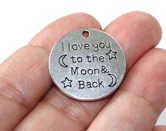 2 - I Love You to the Moon and Back Charms Antique Silver Tone - CH715