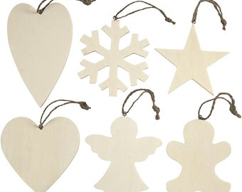 Plain Christmas Decorations - Wooden Shapes Set of 6 - Heart Snowflake Angel Star Gingerbread Man