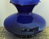 "Vintage Scarce COBALT BLUE ROSE Bowl Large Art Glass Vase Ca 1920s Crimped/Fluted n Ruffled Rim 6 1/2 "" High x 7"" Widest Part, Exc Condition"
