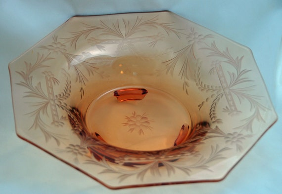 """Price Reduced Antique 1920s Crystal OCTAGON CENTERPIECE FRUIT Console Bowl Delicate Gray Cut Design Size 12""""di x 3""""t Lt Amber Exc Condition"""