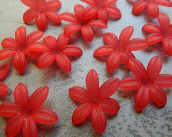 34mm Frosted Red Acrylic Six Petal Lily Textured Flower Bead Caps, 12 PC