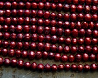 6-8mm A Grade Claret Red Freshwater Potato Pearls, 15 Inch Strand (IND2C93)
