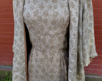 1960s 2pc Champagne Floral Tinsel Dress and Jacket