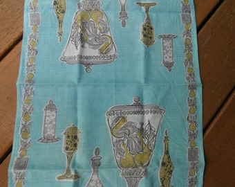 Vintage Mid Century Signed Linen Dish Towel - Suzanne Meister - Blue With Glassware and Fruit