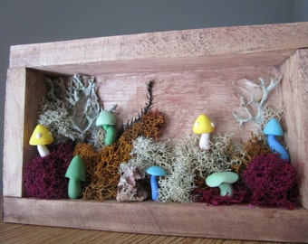 Rustic Autumn/Fall Themed Woodland Mushroom & Moss Scene Polymer Clay Shadowbox Sculpture