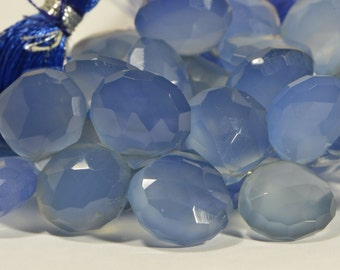 Blue Chalcedony  2 beads Faceted Teardrop Beads Natural Gemstone Beads Jewelry Making Supplies