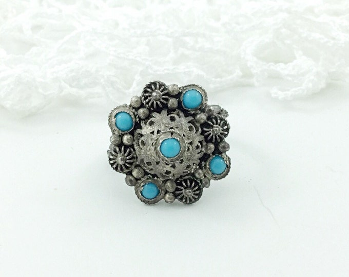 Vintage Turkish Etruscan Style Silver Ring, Nunu 900 Silver And Turquoise Ring. 1930s Rings. Silver Ring With Blue Stones. Ornate Old Ring.