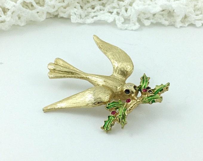 Vintage Dove Rhinestone Bird brooch. Dove with misstletoe twig branch brooch. Love Brooch, Peace Brooch. Holiday Brooch, Messenger. Repair.