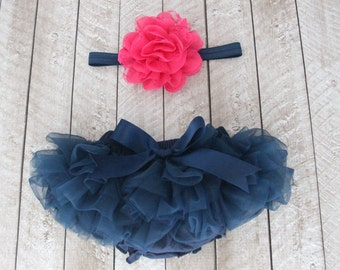 Baby Girl Ruffle Bottom Tutu Bloomer Headband Set in Navy Blue & Hot Pink Flower - Newborn Photo Set - Cake Smash - Diaper Cover - Baby Gift
