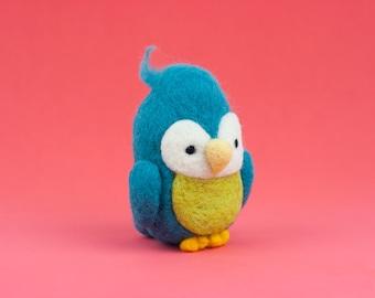 Needle Felt Bird, Needle Felted Animal, Bird Plush, Felt Animal, Birdie Doll, Bird Decor, Love Bird, Cute, Ornament, Collectible, Mini