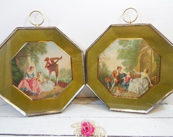 Vintage Rare Turner Wall Accessory Lancrets Romantic Octagon Frame EUC Music Lesson and  Innocence