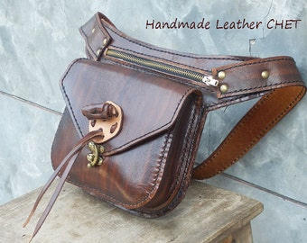 Leather Fanny Pack / Bum Bag / Waist Pouch / Belt Pack / Belly Bag / Hip Sack / for Men Women Brown