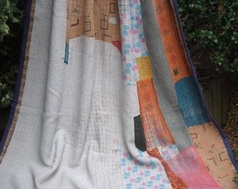 Patchwork kantha quilt, Kantha throw, Sari blanket, Indian throw, Vintage kantha quilt, Yellow Sari throw, Kantha blanket,Boho throw