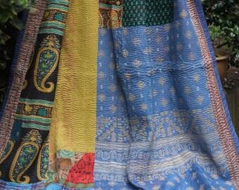 Yellow Kantha, Vintage Kantha quilt ,Regency stripe Kantha, Striped Patchwork Throw, Kantha Blanket,  Sari Quilt,