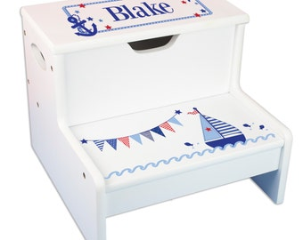 Kids Personalized Step Stool with Storage & Sailboat Design. Great for nautical nurseries and bathrooms Storage Stools Sail Boat STEP-whi201