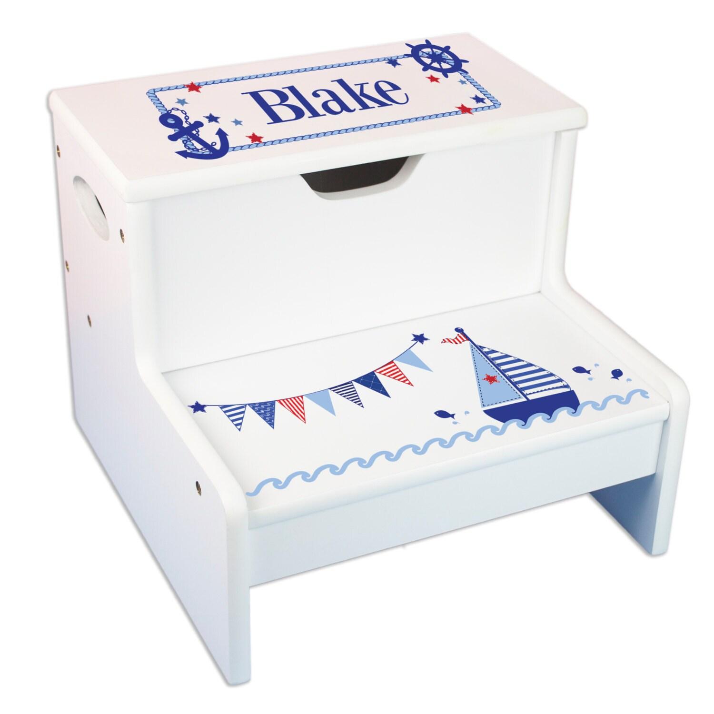 kids personalized step stool with storage sailboat design. Black Bedroom Furniture Sets. Home Design Ideas