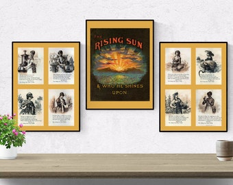 Rising Sun Stove Polish poster set made antique ad Canton, Ohio